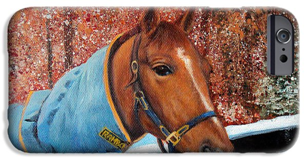 Maine Farms Paintings iPhone Cases - Horse Portrait iPhone Case by Laura Tasheiko