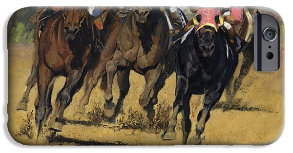Horse Racing iPhone Cases - Horse Racing Playfellow iPhone Case by Don  Langeneckert