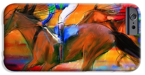 Horse Digital Art iPhone Cases - Horse Racing II iPhone Case by Lourry Legarde