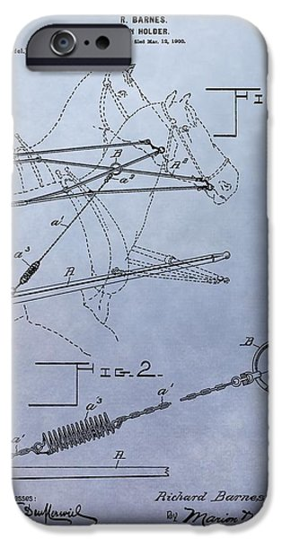 Horse Racing Mixed Media iPhone Cases - Horse Rein Patent iPhone Case by Dan Sproul