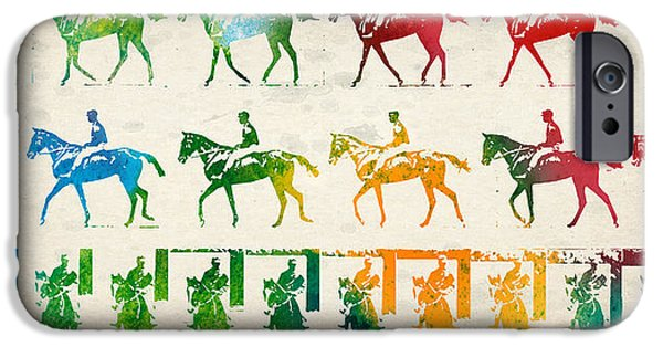 Horseback Riding iPhone Cases - Horse Rider Locomotion iPhone Case by Aged Pixel