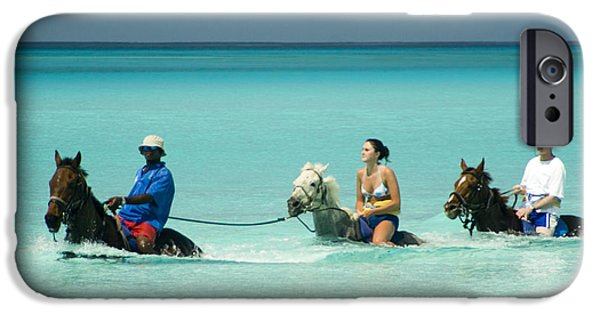 Private Island iPhone Cases - Horse Riders in the Surf iPhone Case by David Smith