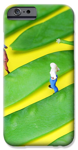 Horse riding on snow peas little people on food iPhone Case by Paul Ge