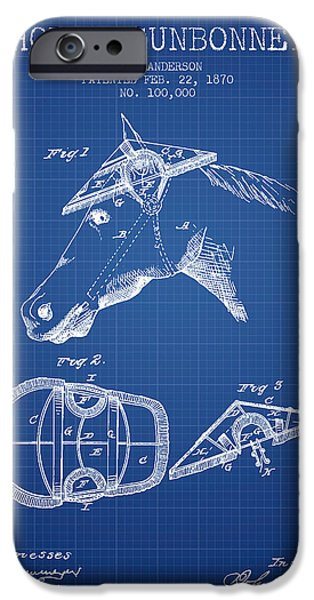 Horse Stable iPhone Cases - Horse Sunbonnet patent from 1870 - Blueprint iPhone Case by Aged Pixel