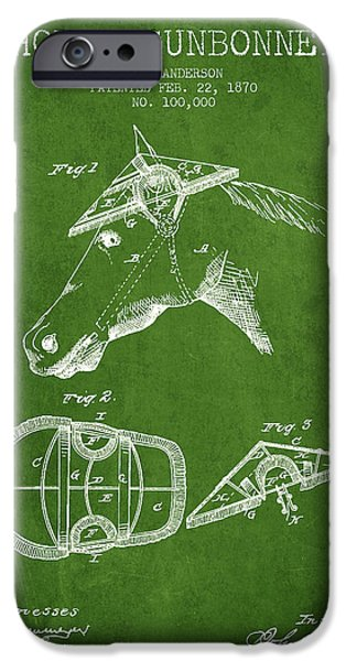 Tack iPhone Cases - Horse Sunbonnet patent from 1870 - Green iPhone Case by Aged Pixel