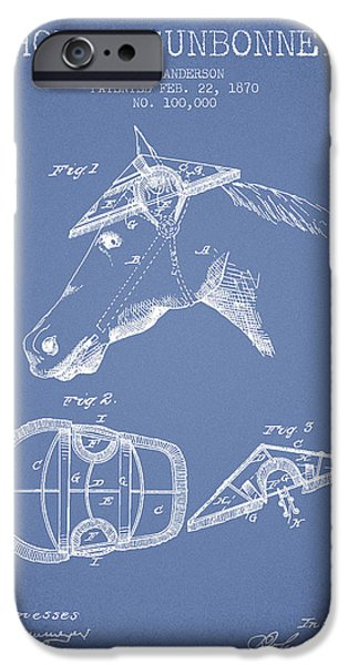 Tack iPhone Cases - Horse Sunbonnet patent from 1870 - Light Blue iPhone Case by Aged Pixel