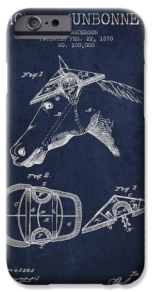 Tack iPhone Cases - Horse Sunbonnet patent from 1870 - Navy Blue iPhone Case by Aged Pixel