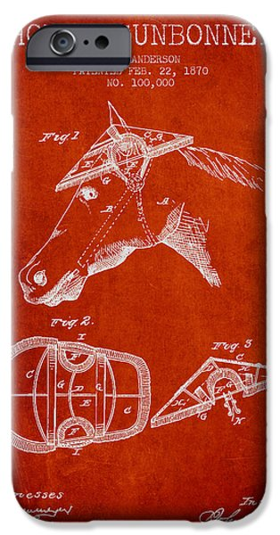 Horse Stable iPhone Cases - Horse Sunbonnet patent from 1870 - Red iPhone Case by Aged Pixel