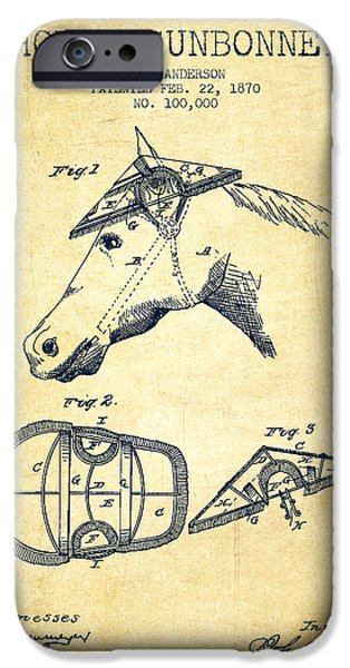 Horse Stable iPhone Cases - Horse Sunbonnet patent from 1870 - Vintage iPhone Case by Aged Pixel
