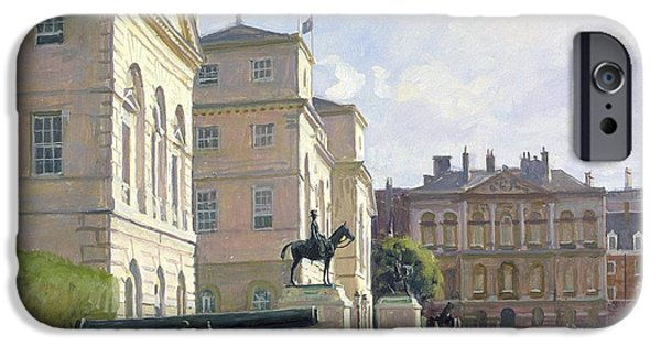 Parade iPhone Cases - Horseguards Oil On Canvas iPhone Case by Julian Barrow