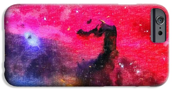 Interstellar Space Paintings iPhone Cases - Horsehead Nebula iPhone Case by Dan Sproul