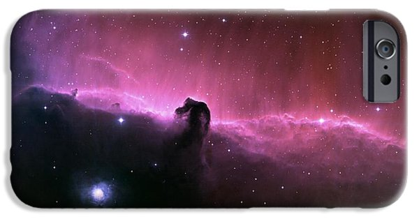 Galactic Paintings iPhone Cases - horsehead nebula IC434 iPhone Case by Celestial Images