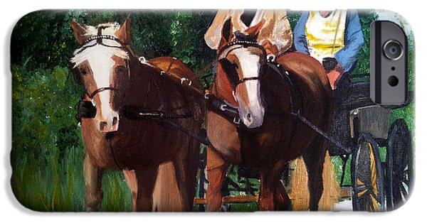Horse And Cart Paintings iPhone Cases - Horses and Carriage iPhone Case by Lady I F Abbie Shores
