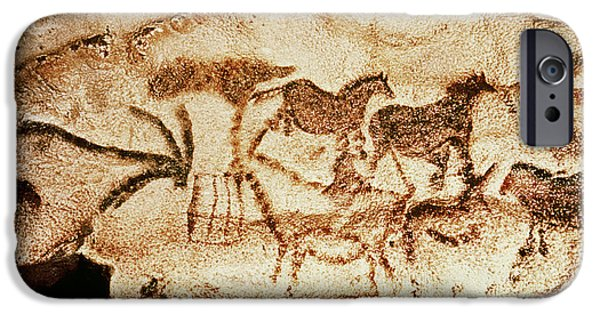 Pony iPhone Cases - Horses And Deer From The Caves At Altamira, C.15000 Bc Cave Painting iPhone Case by Prehistoric