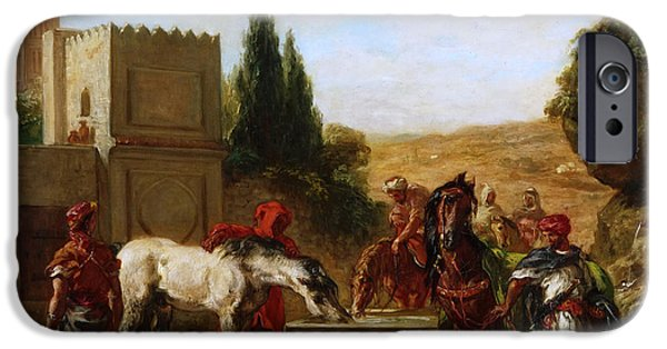 Delacroix iPhone Cases - Horses at a Fountain iPhone Case by Eugene Delacroix
