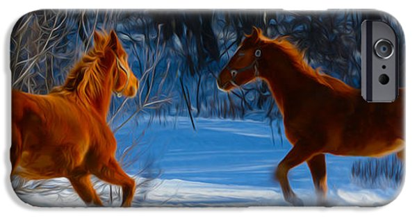 The Horse iPhone Cases - Horses at play iPhone Case by Tracy Winter