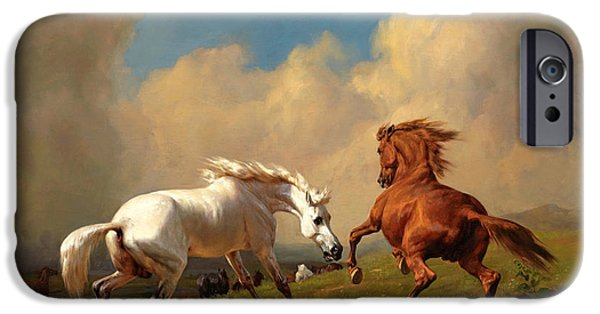 Approaching Storm iPhone Cases - Horses balking at approaching storm iPhone Case by Rudolf Koller