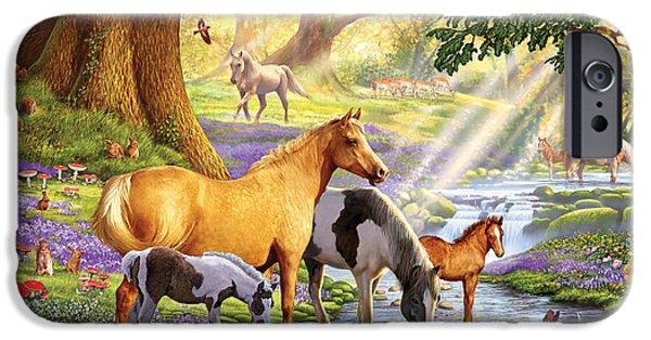 Mushroom Digital Art iPhone Cases - Horses by the Stream iPhone Case by Steve Crisp