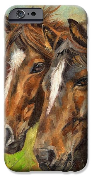 David iPhone Cases - Horses iPhone Case by David Stribbling