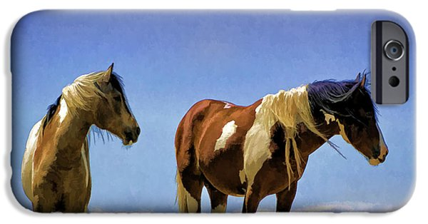 Recently Sold -  - Animals Photographs iPhone Cases - Horses - Double Painted Paints iPhone Case by Wildlife Fine Art