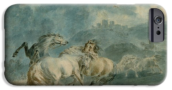 Mammals Drawings iPhone Cases - Horses Fighting iPhone Case by Sawrey Gilpin