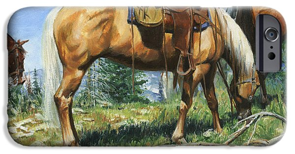 Creek iPhone Cases - Palamino at Lunch Break iPhone Case by Don  Langeneckert