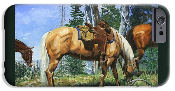 Horseback Riding iPhone Cases - Palomino at Lunch Break iPhone Case by Don  Langeneckert