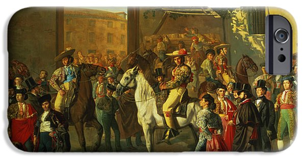 Elegant iPhone Cases - Horses In A Courtyard By The Bullring Before The Bullfight, Madrid, 1853 Oil On Canvas Detail iPhone Case by Manuel Castellano