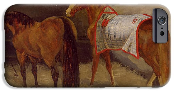 Feeding iPhone Cases - Horses In The Stables Oil On Canvas iPhone Case by Theodore Gericault