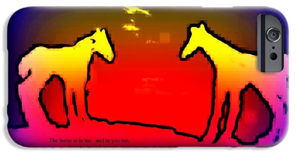 Particular Paintings iPhone Cases - Horses Inside Us iPhone Case by Hilde Widerberg