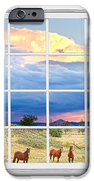 Horses On The Storm Large White Picture Window Frame View iPhone Case by James BO  Insogna