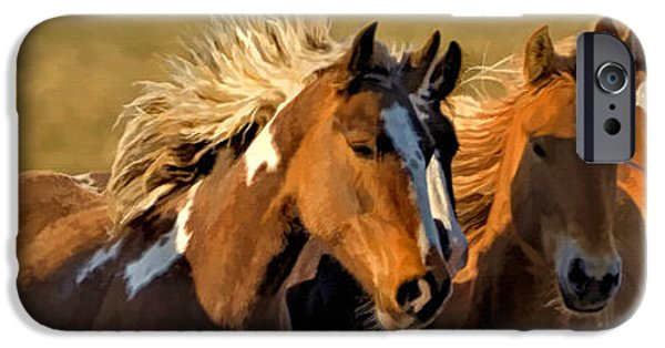 Animals Photographs iPhone Cases - Horses - Running Free iPhone Case by Wildlife Fine Art