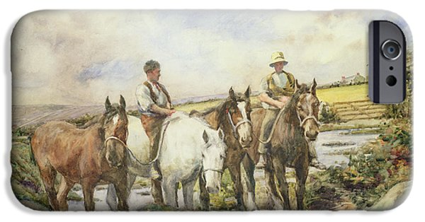 Reining iPhone Cases - Horses Watering iPhone Case by Henry Meynell Rheam