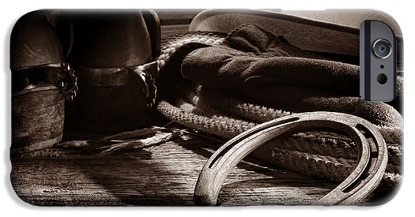 Work Tool iPhone Cases - Horseshoe and Cowboy Gear iPhone Case by American West Legend By Olivier Le Queinec