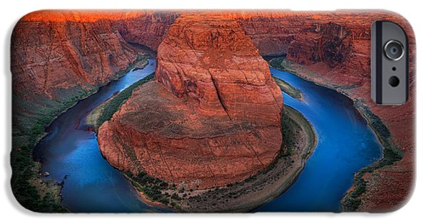 Solitude Photographs iPhone Cases - Horseshoe Bend Sunrise iPhone Case by Inge Johnsson