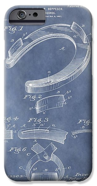 Horse Racing Mixed Media iPhone Cases - Horseshoe Patent iPhone Case by Dan Sproul
