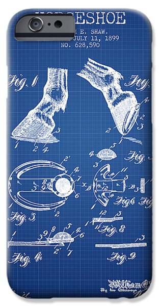 Horse Stable iPhone Cases - Horseshoe Patent from 1899 - Blueprint iPhone Case by Aged Pixel