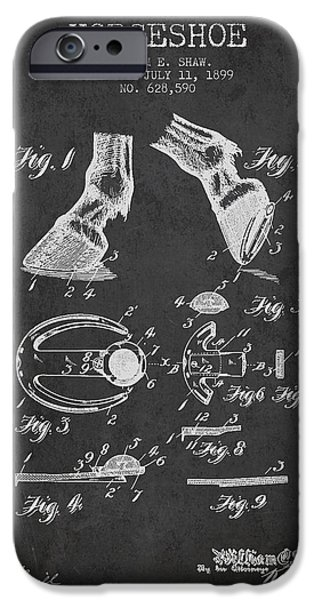 Horse iPhone Cases - Horseshoe Patent from 1899 - Charcoal iPhone Case by Aged Pixel