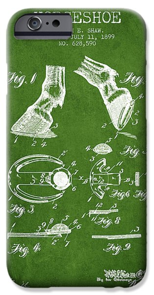 Horse iPhone Cases - Horseshoe Patent from 1899 - Green iPhone Case by Aged Pixel