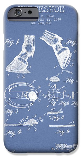 Horse iPhone Cases - Horseshoe Patent from 1899 - Light Blue iPhone Case by Aged Pixel