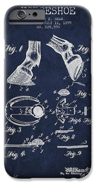 Horse Stable iPhone Cases - Horseshoe Patent from 1899 - Navy Blue iPhone Case by Aged Pixel