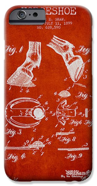 Horse iPhone Cases - Horseshoe Patent from 1899 - Red iPhone Case by Aged Pixel