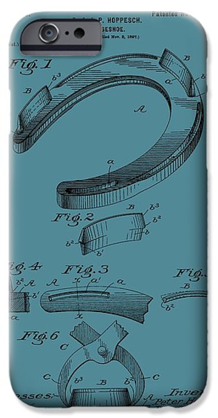 Horse Racing iPhone Cases - Horseshoe Patent On Blue iPhone Case by Dan Sproul