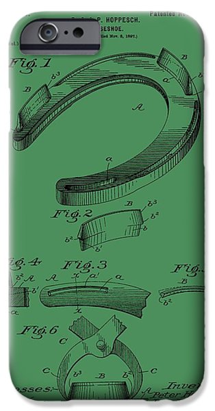 Horse Racing iPhone Cases - Horseshoe Patent On Green iPhone Case by Dan Sproul