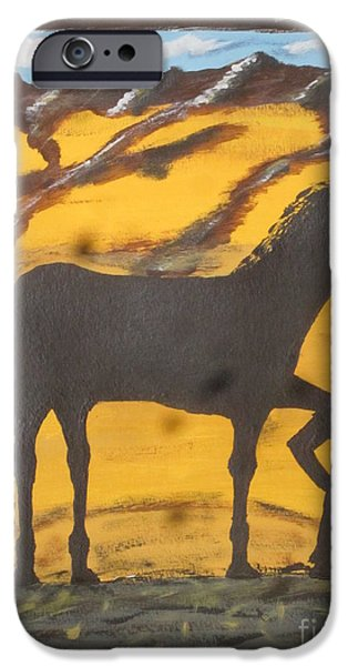 Work Tool Paintings iPhone Cases - Horseshoeing Silhouette iPhone Case by Jeffrey Koss