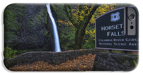 Beauty Mark iPhone Cases - Horsetail Falls with Sign iPhone Case by Mark Kiver