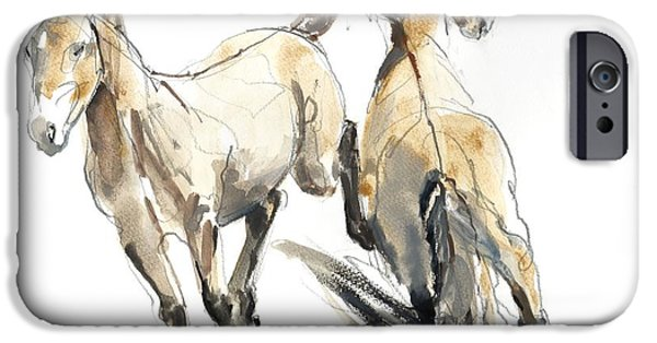 Horse iPhone Cases - Horsing, 2013 Watercolour And Pigment On Paper iPhone Case by Mark Adlington