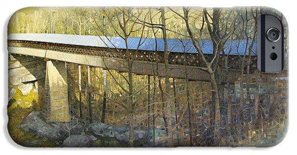 Covered Bridge Paintings iPhone Cases - Horton Mill Covered Bridge in Winter iPhone Case by T S Carson