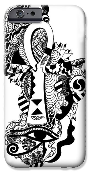 Horus Drawings iPhone Cases - Horus Ankh iPhone Case by Kenal Louis
