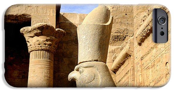 Hathor iPhone Cases - Horus the Hawk Headed God iPhone Case by Brenda Kean